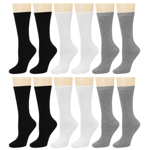 12-Pack Women's Crew Socks Black Grey White