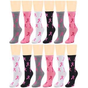 12-Pack Women's Crew Socks Breast Cancer Awareness