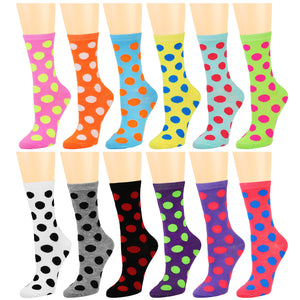 12-Pack Women's Crew Socks Polka Dots