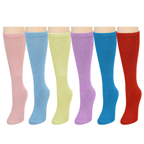 Falari Women Diabetic Socks Diabetes Edema and Circulatory Loose Fitting Cotton Crew Socks - 6 Pairs Assorted