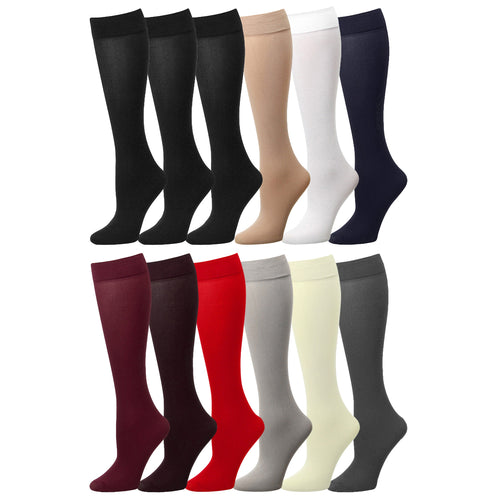 12 Pairs Women Trouser Socks Stretchy Spandex Opaque Knee High
