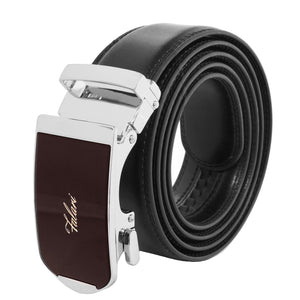 Falari Genuine Leather Dress Ratchet Belt Automatic Buckle Holeless Adjustable Size 7008