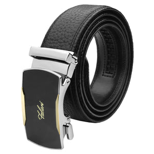 Falari Genuine Leather Dress Ratchet Belt Automatic Buckle Holeless Adjustable Size 7012