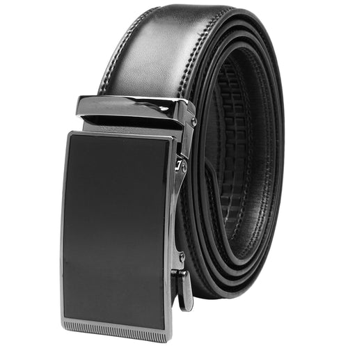 Falari Genuine Leather Dress Ratchet Belt Automatic Buckle Holeless Adjustable Size 7025