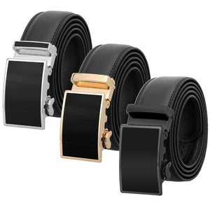 Falari Leather Dress Belt Ratchet Belt Holeless Automatic Buckle Adjustable Size