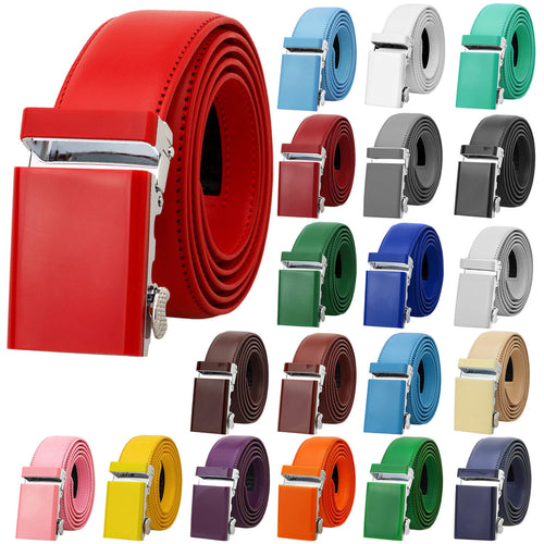 Falari Men Unisex Genuine Leather Ratchet Dress Belt Automatic Sliding Buckle - 20 Variety Colors - Trim to Fit (8168)