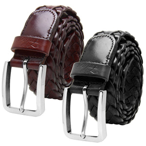Men's Leather Braided Belt Stainless Steel Buckle 35mm