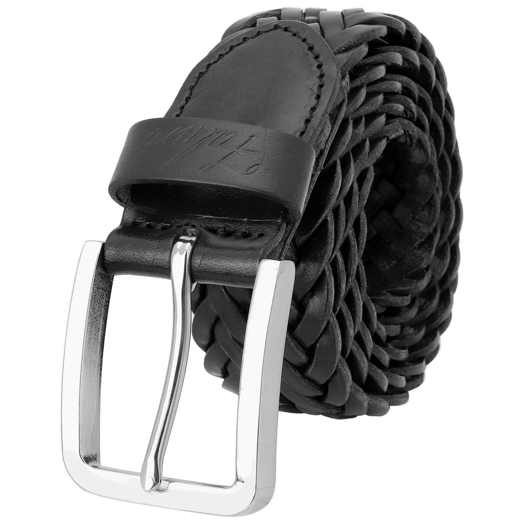 Men's Leather Braided Belt Stainless Steel Buckle 35mm 9007