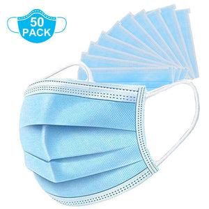 50 Pcs Disposable Earloop Face Masks, 3-Ply For Personal Health Virus Protection
