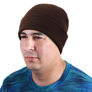 Knitted Beanie Hat - Brown