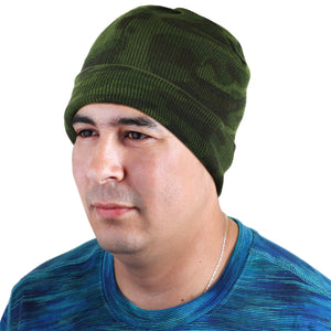 Knitted Beanie Hat - Green Camouflage