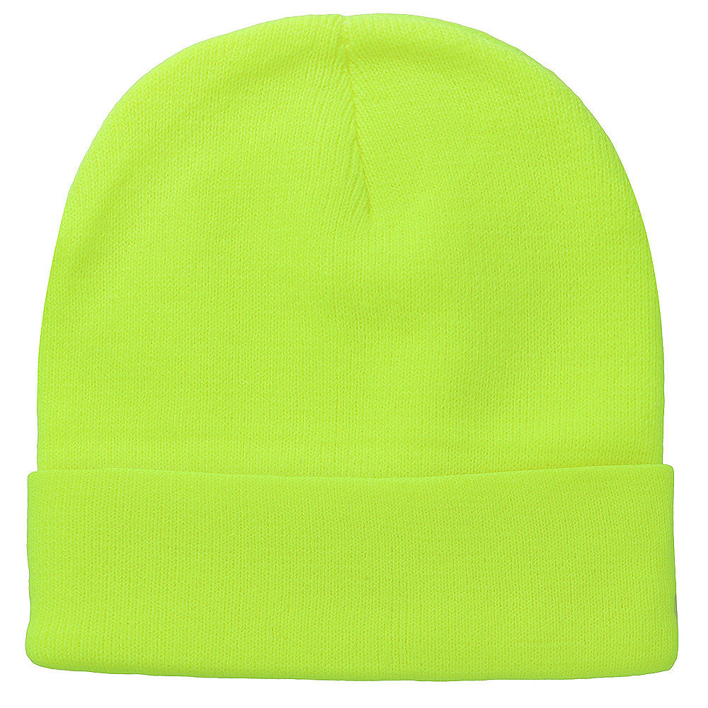 Knitted Beanie Hat - Neon Yellow