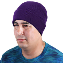 Load image into Gallery viewer, Knitted Beanie Hat - Dark Purple