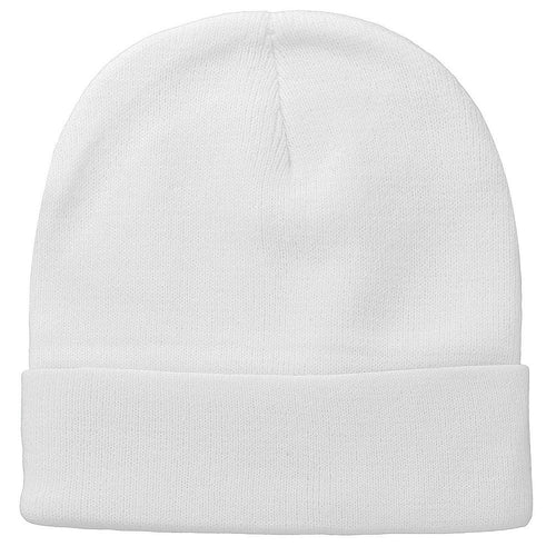 Knitted Beanie Hat - White