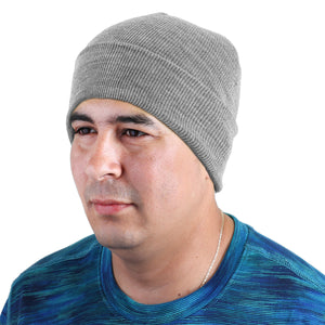 Knitted Beanie Hat - Light Grey