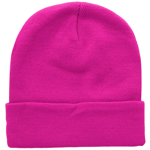 Knitted Beanie Hat - Hot Pink