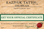 Certificate for your Razzouk Tattoo in Jerusalem