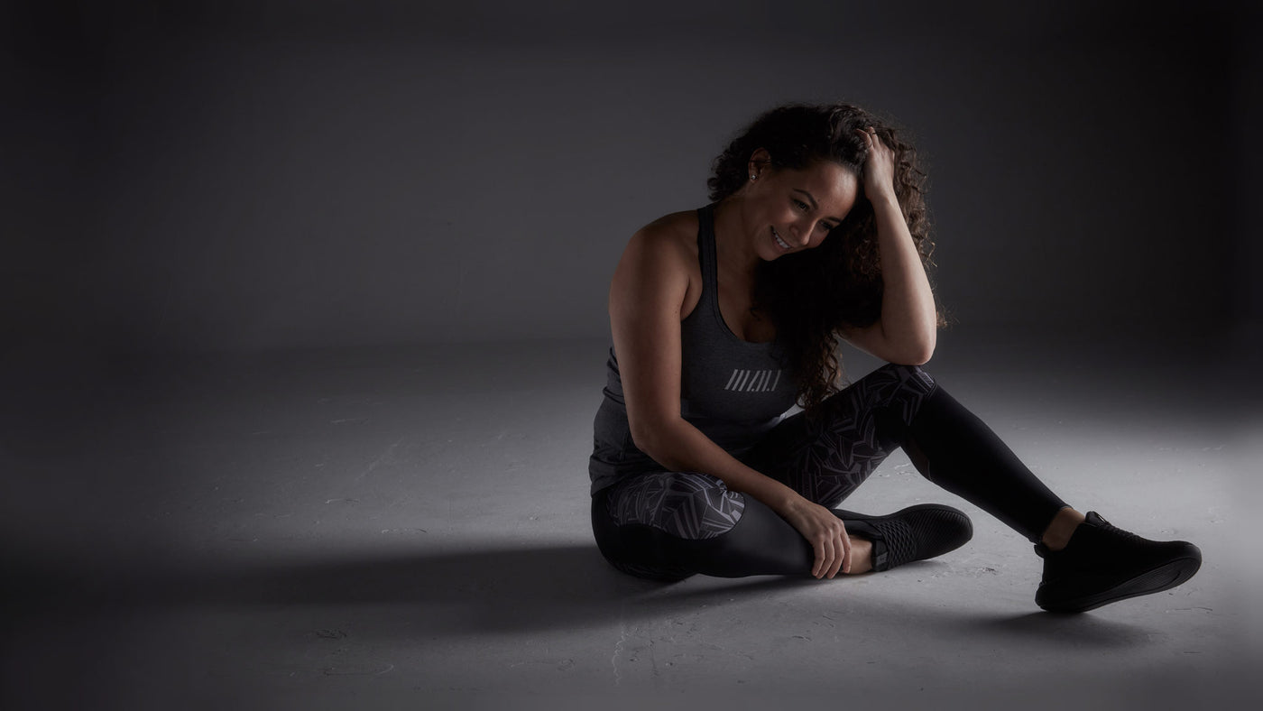 Model | Grey Supersoft Workout Vest and High Waisted Leggings Grey/Black | MyNV Sportswear