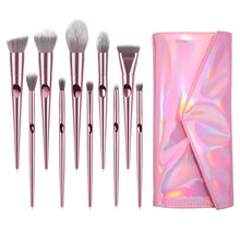 Load image into Gallery viewer, Pink Holographic 10 piece brush set