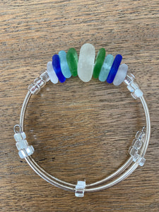 Moonbay Seaglass and Silver Bracelet