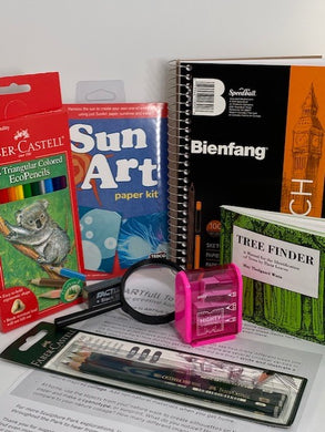Included in the Art and Nature kit:   Sketchbook, Colored pencils,  Pencil sharpener,  Magnifying tool,  List of Creativity Prompts,  Graphite art pencil set,  Eraser, Set of 6 multi-colored magic crayons, Tree Finder book for tree and leaf identification, SunArt paper kit