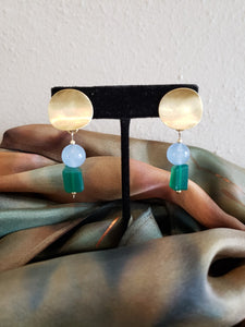 Epoca Collection - Earrings - Chalcedony, Labradorite, and Gold by Ania Davies