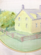 Load image into Gallery viewer, Shaker House - Original fiber art in watercolor, felting and embroidery.