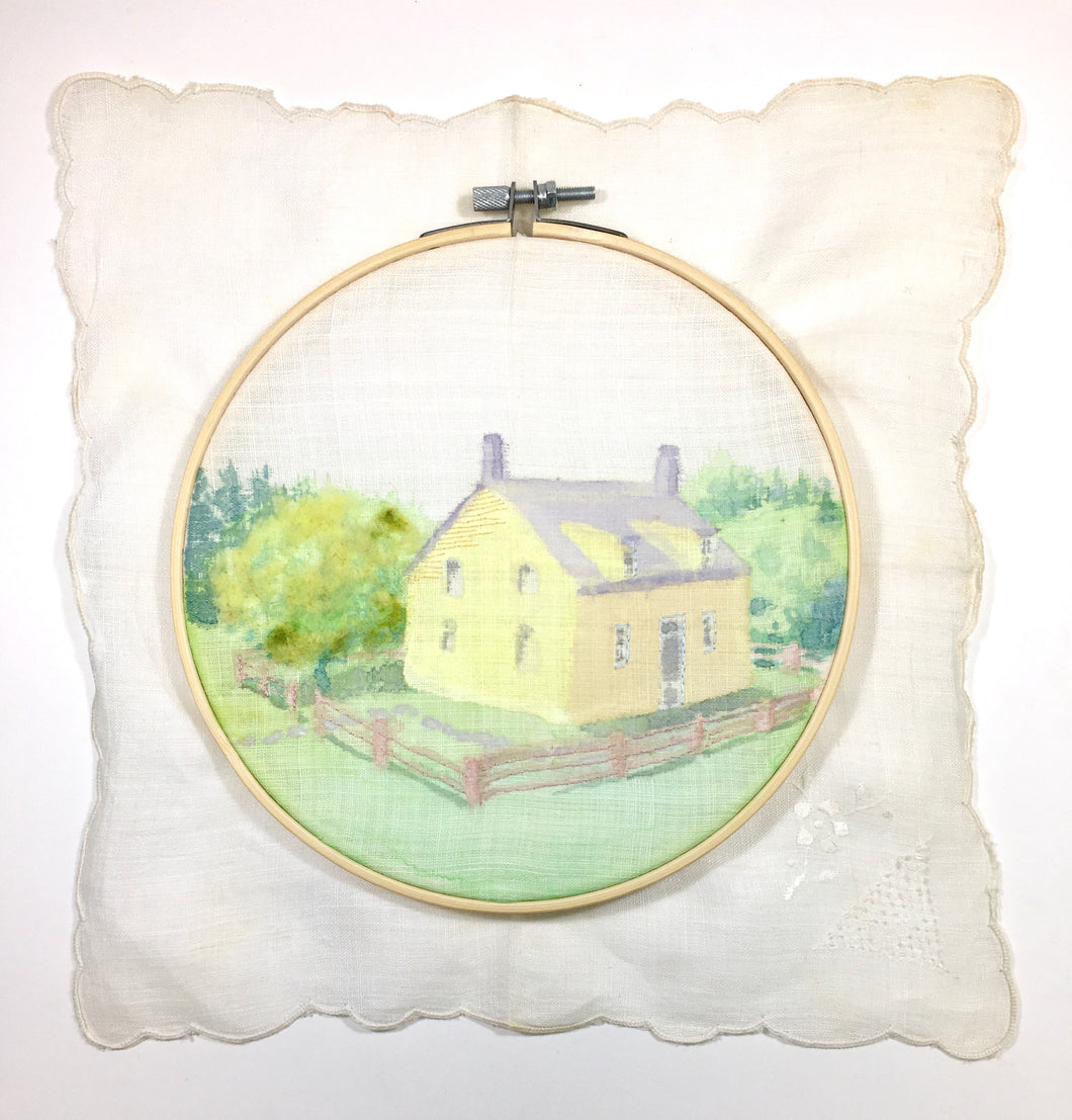 Shaker House - Original fiber art in watercolor, felting and embroidery.