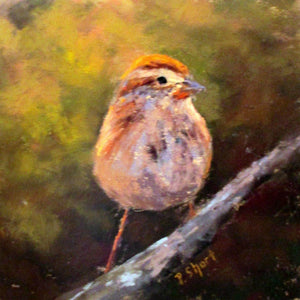 "At Attention - Sparrow - original pastel 5.5"" x 5.5"" by Pam Short"