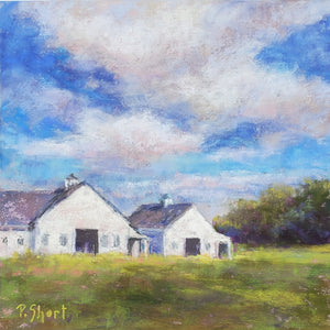 "Evening Glow - Barns, Harvard. Original pastel 8"" x 8"" by Pam Short"