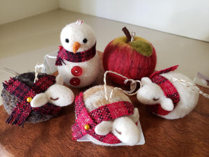 Ornaments - Felted by local fiber artist Elizabeth Anne Smith