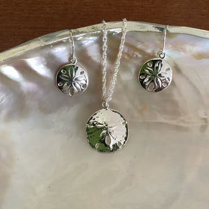 Sand Dollar Pendant & Earrings - Silver Plate