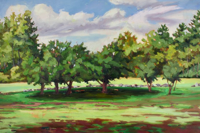 Pear Trees at Fruitlands - Original oil painting by Jill Pottle