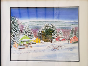 Fruitlands Museum - Winter - Framed Watercolor and giclée by Jackie French Koller