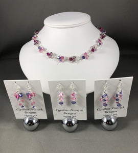 Swarovski Love Struck - Pink, Purple & Blue Crystals - Necklace and Earring Collection