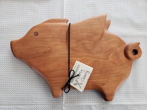 Flying Pig Cheese Board - Curly Cherry Wood by Meb's Kitchenwares