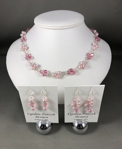 Swarovski Pink Pearls & Light Rose crystals - Necklace and Earring Collection