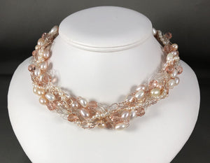 Cynthia Franzek Collection - Necklace Freshwater pearls, Swarovski crystals and ss fittings