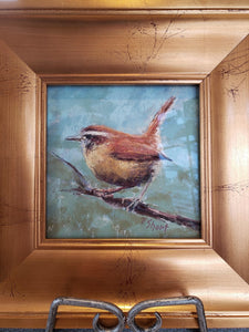 "Chatter Box - Carolina Wren - original pastel 6"" x 6"" by Pam Short"