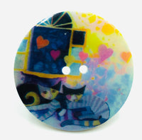 Bottone Madreperla Gatti Blu con Cuori Multicolore 40 mm
