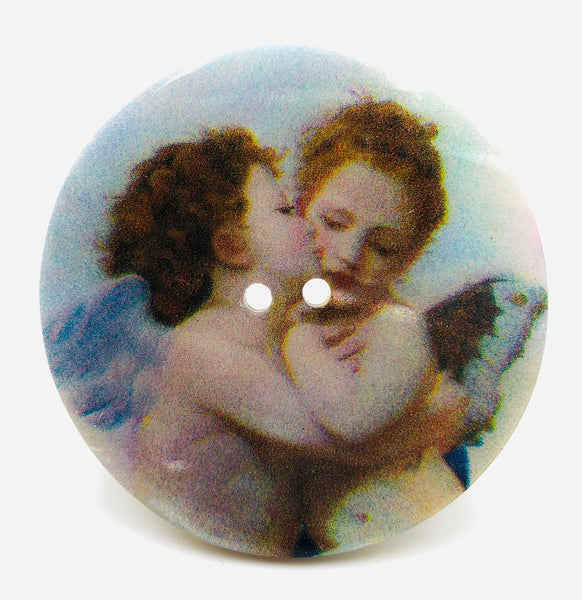 "Bottone Madreperla  William Bouguereau ""Amore e Psiche"" Angeli 50 mm"