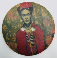 Bottone Legno Frida Kahlo Autoritratto Verde 70 mm