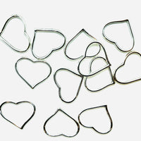 Charms Cuore Cavo Colore Argento 22 mm x 27 mm - 12pz