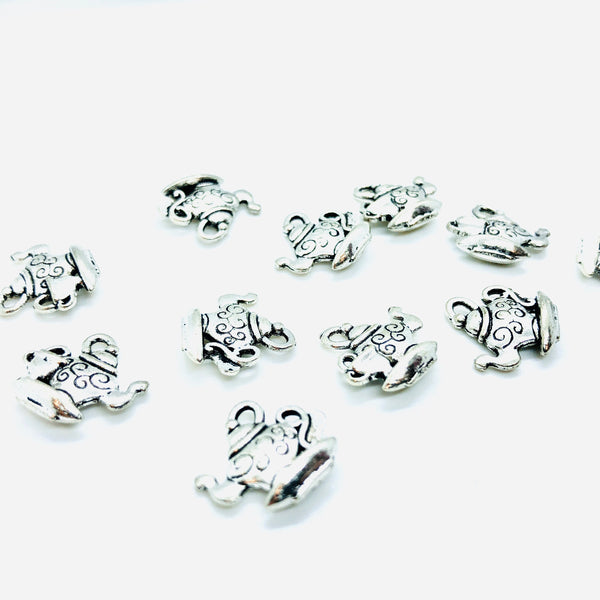 Charms Teiera con Asola Colore Argento Platino 15 mm x 14 mm - 10pz