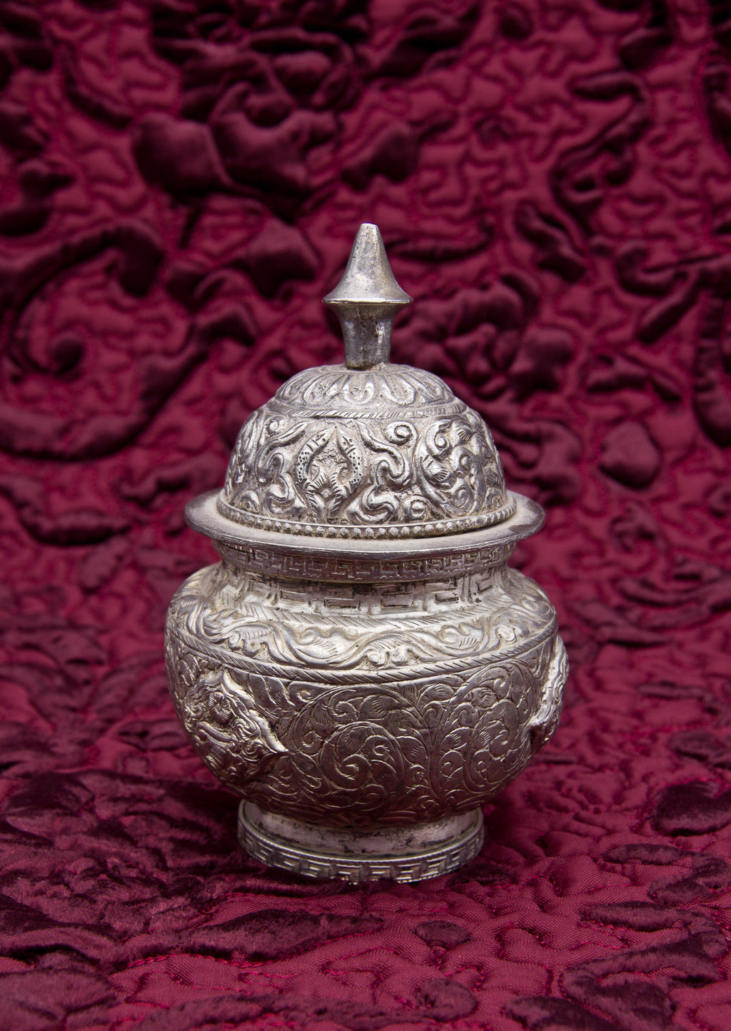 Silver Embossed Rice Container