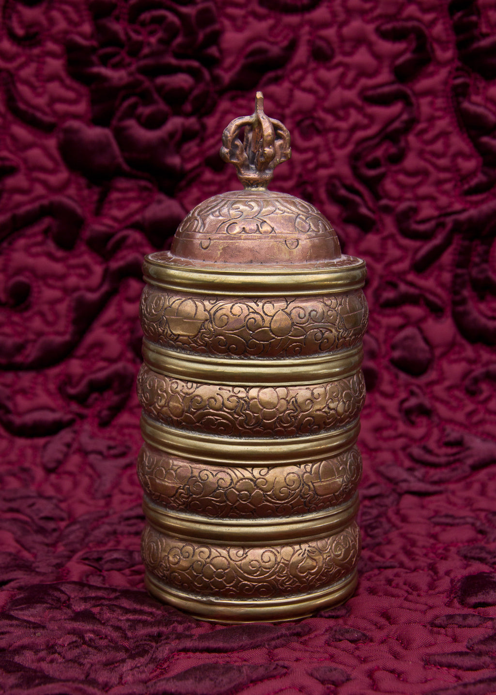 Copper Engraved Stacked Rice Container