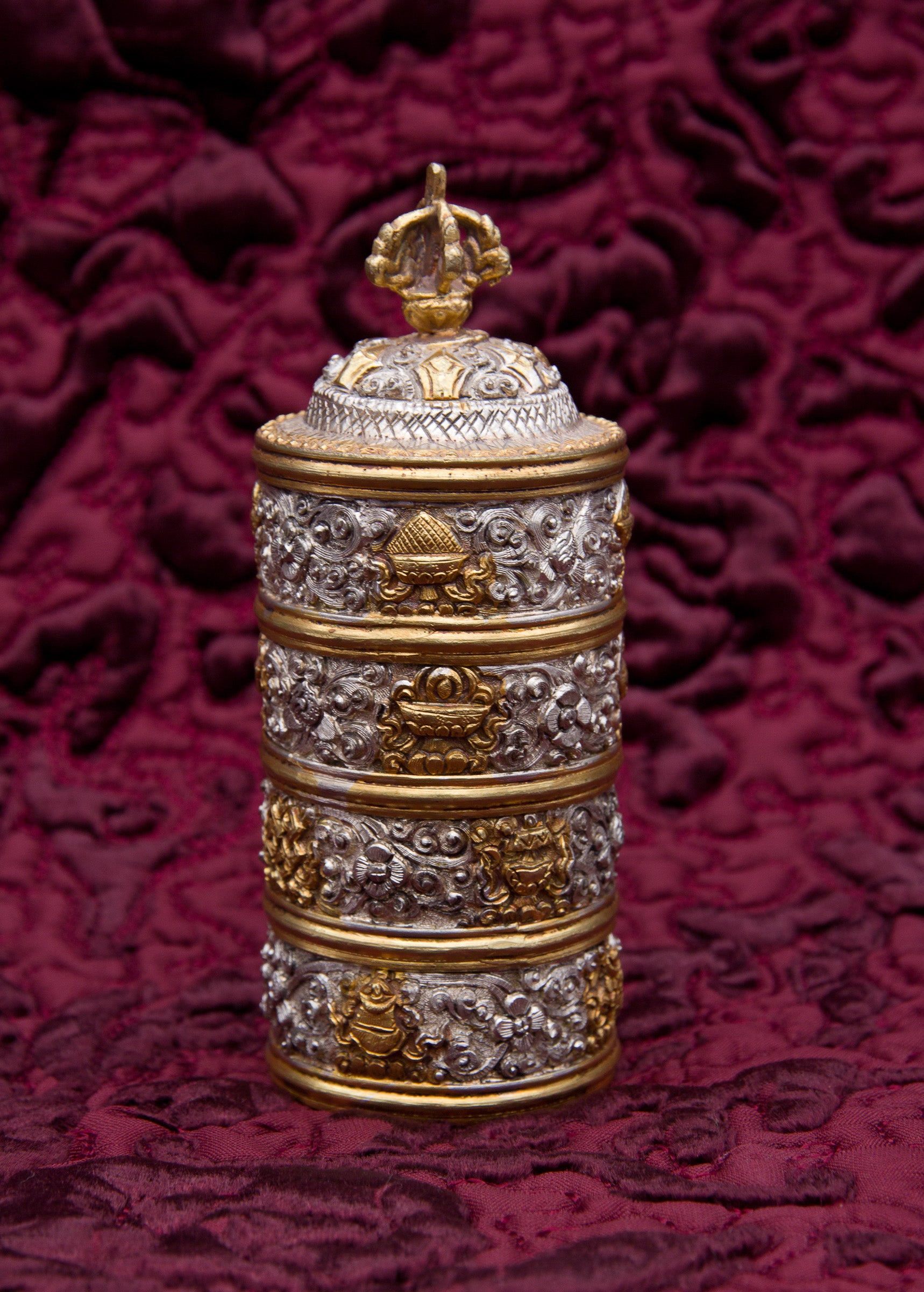 Silver & Gold Stacked Rice Container