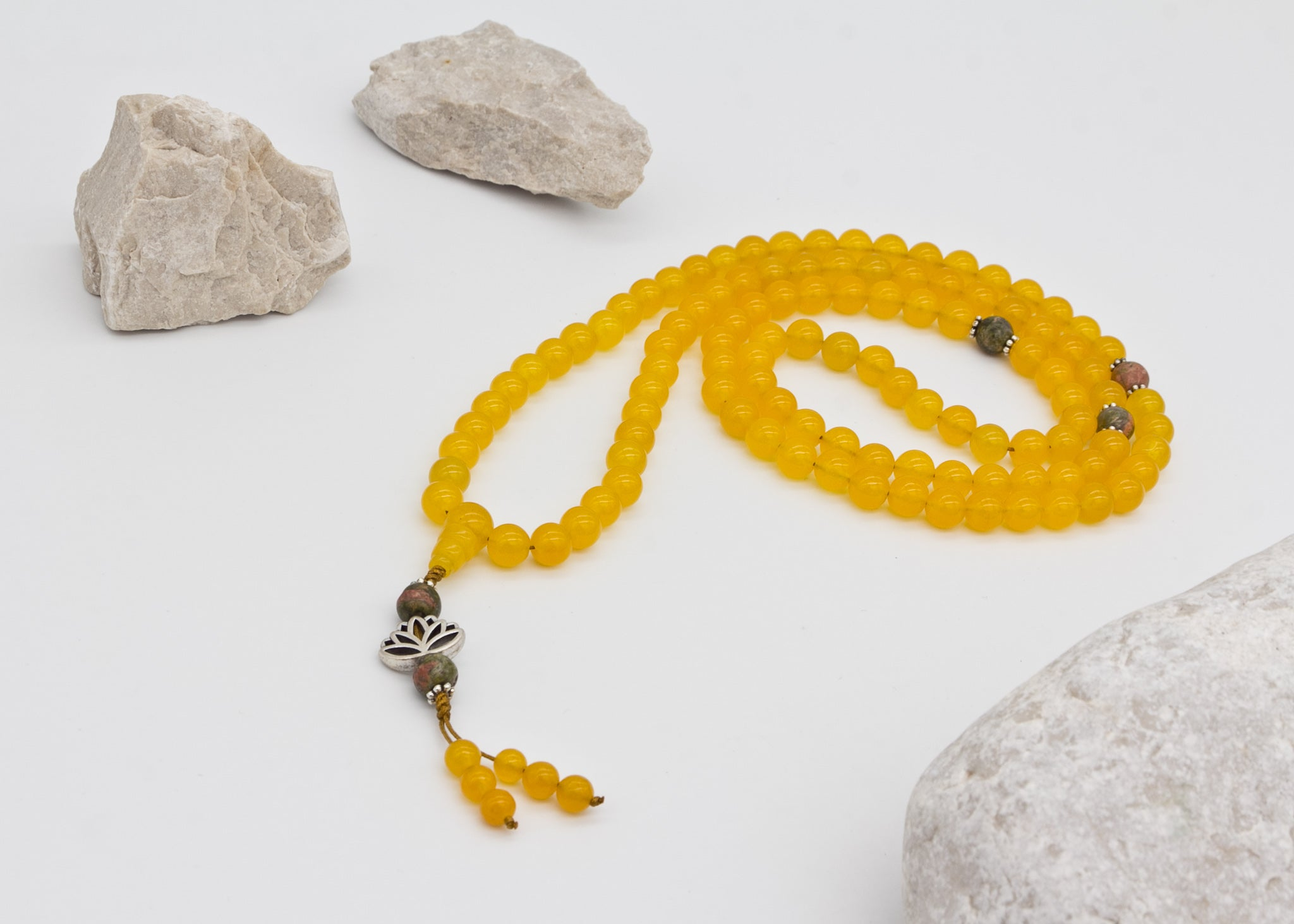Yellow Gemstone Mala with Unakit Spacer Beads