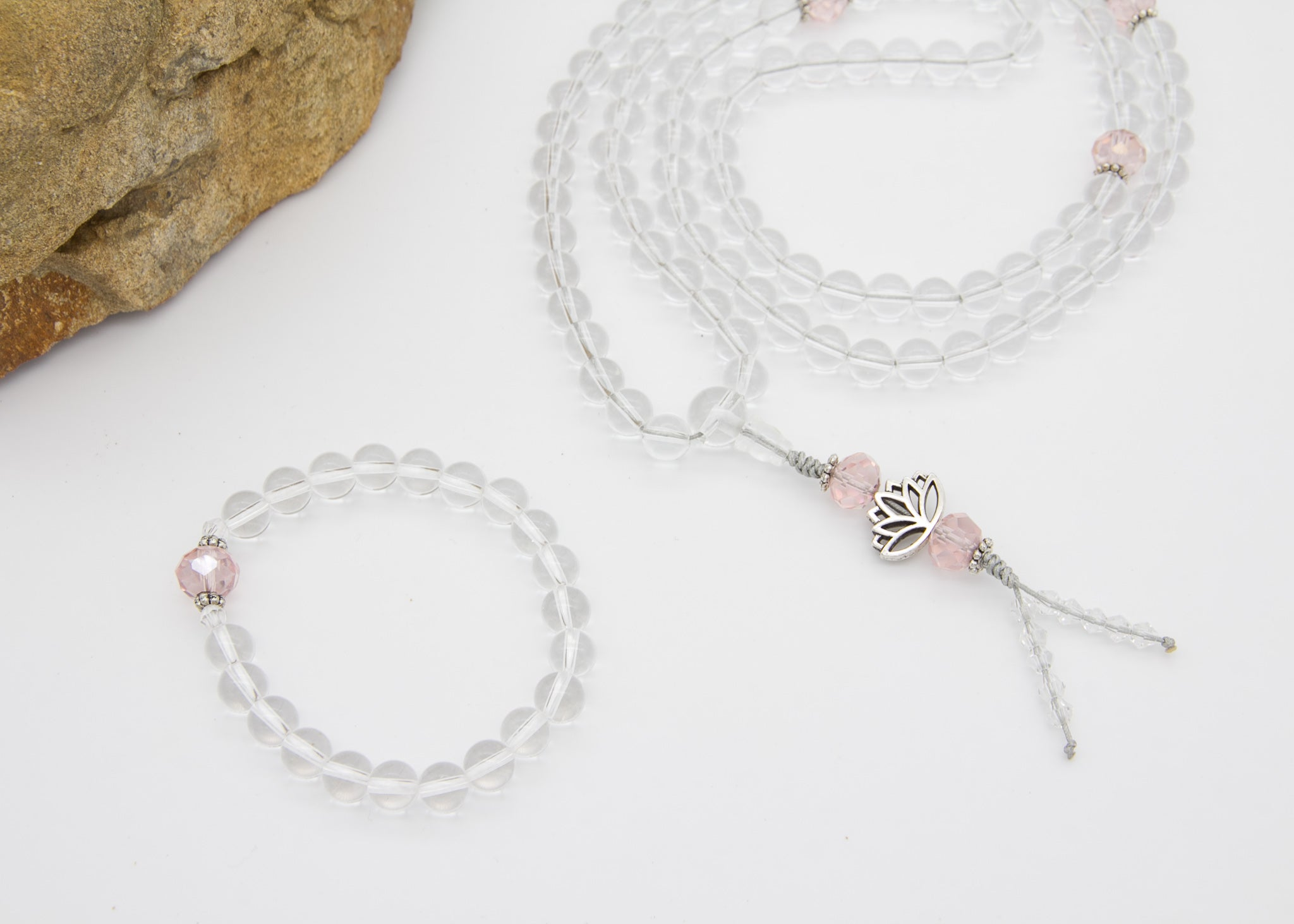 Crystal Mala with Pink Spacer Beads