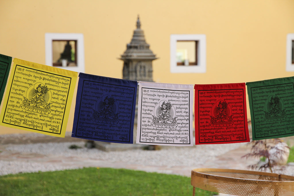 "Sitatapatra ""White Parasol"" Prayer Flags, 20x20cm"